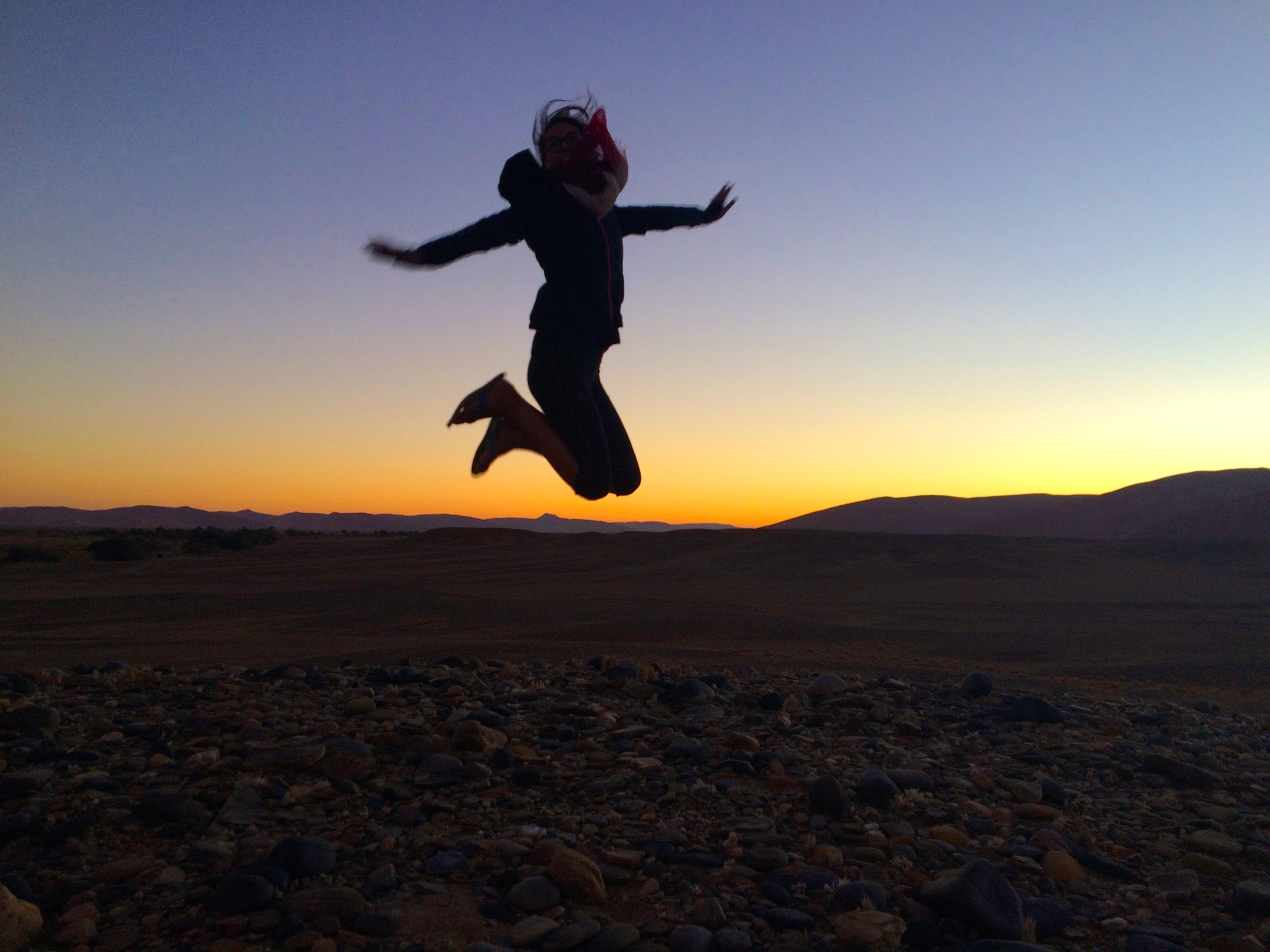 Jump au coucher du soleil