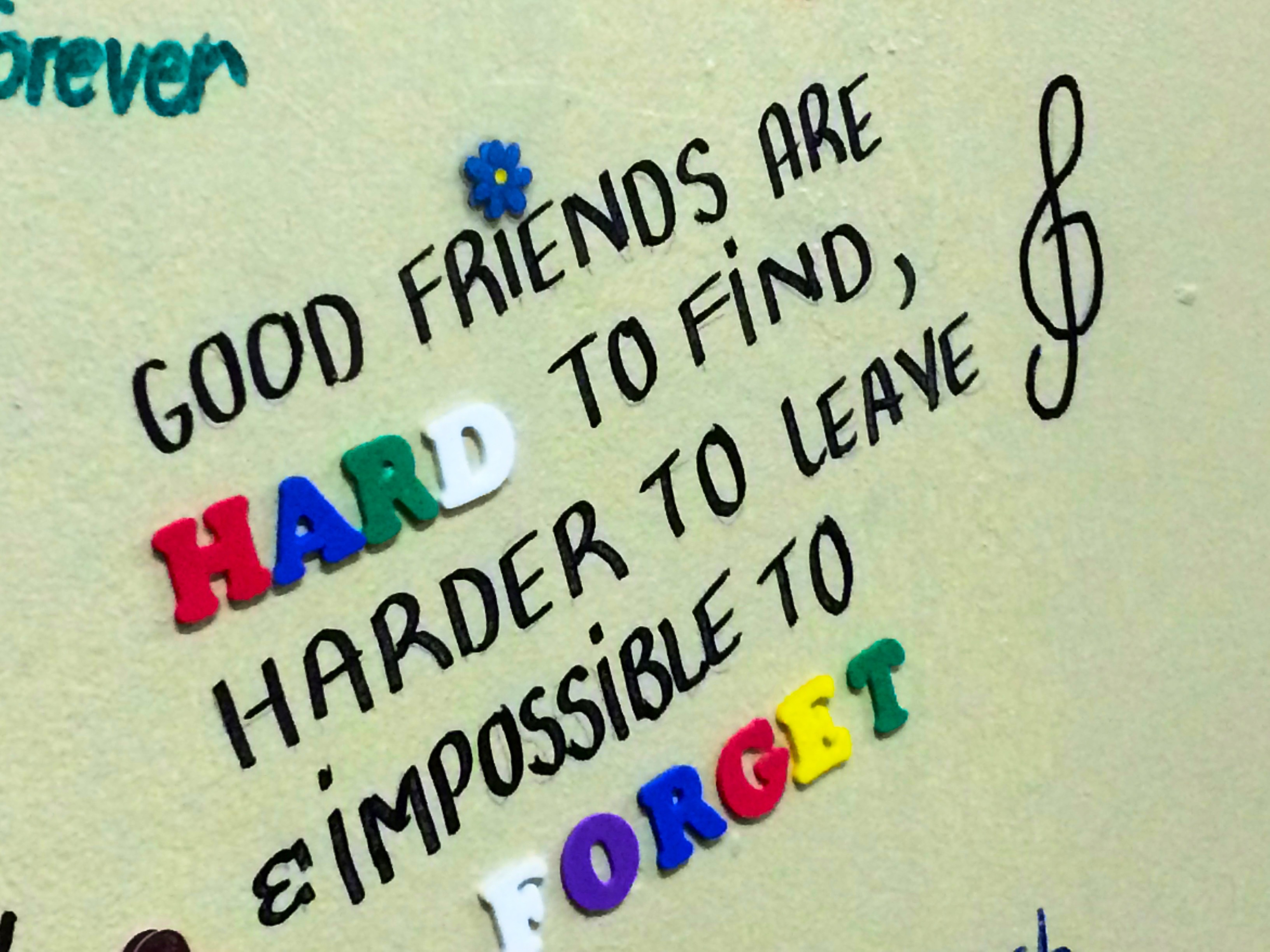 Des bons amis sont dur à trouver, encore plus difficile à laisser et impossible à oublier !