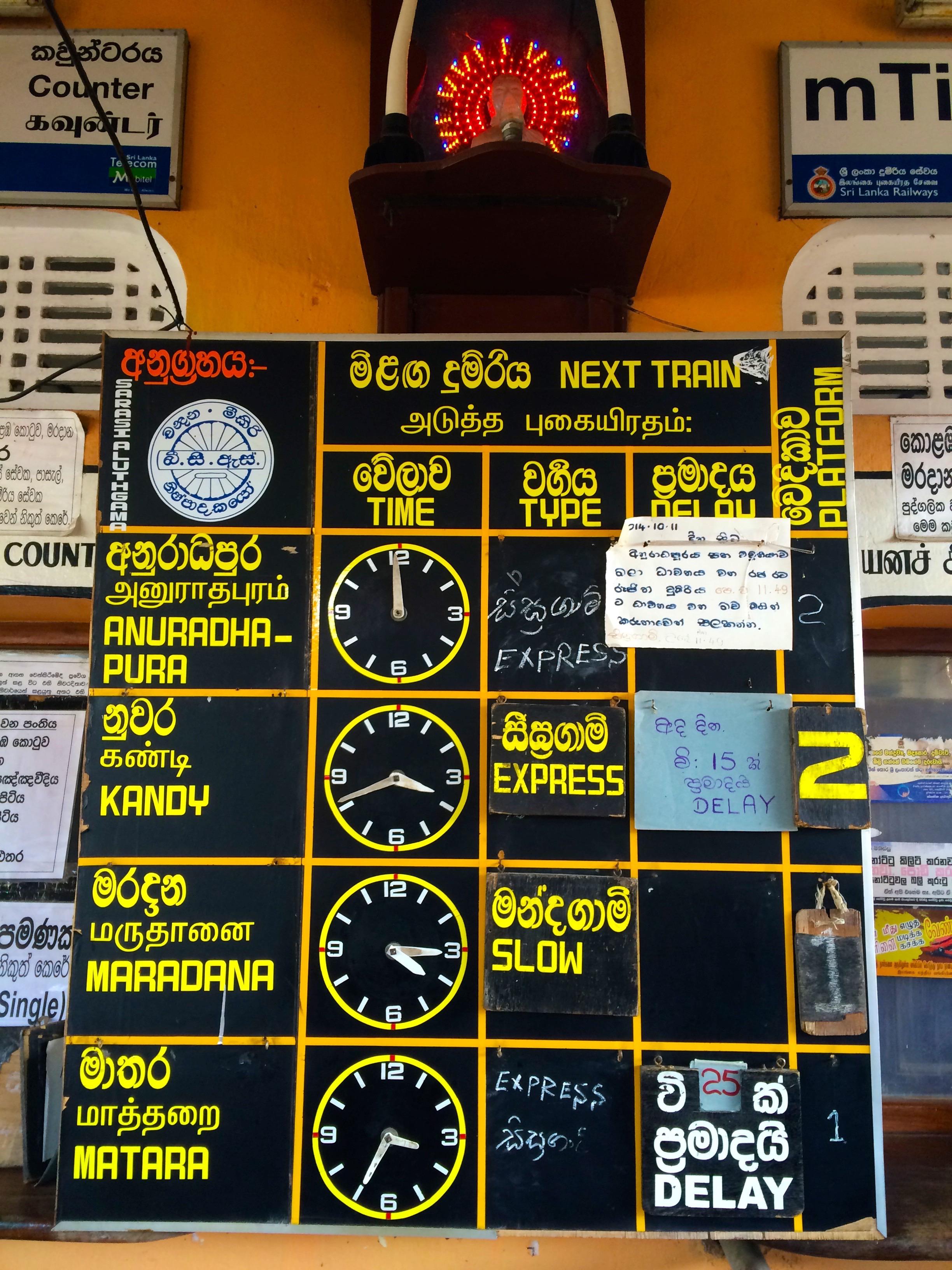 Tableau d'affichage à la Sri Lankaise